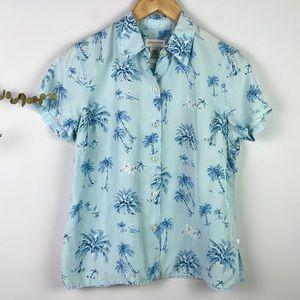 Liz Claiborne Vintage Blue Silk Hawaiian Blouse